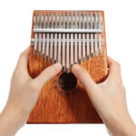 17 Keys Wood Kalimbas Mahogany Thumb Piano Finger Percussion With Tuning Hammer